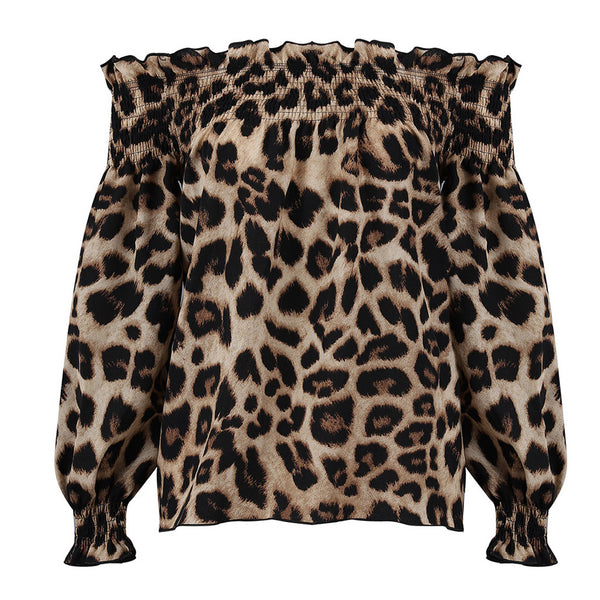 Leopard Print Long Sleeve off shoulder shirt women's summer leisure