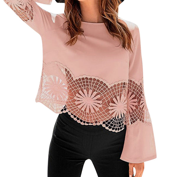 Fashion women's shirt solid color o-neck lace splicing hollow bottom women's top
