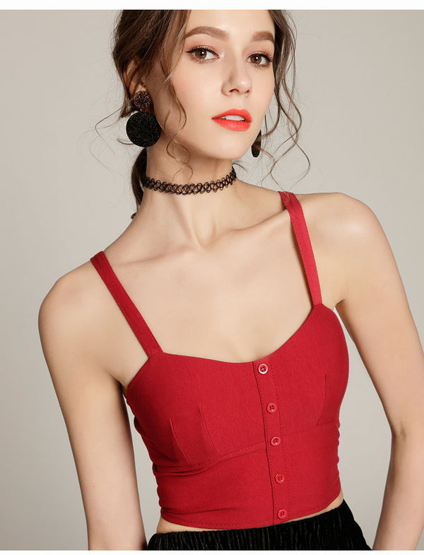 Striped women's top sexy cut waistcoat elastic
