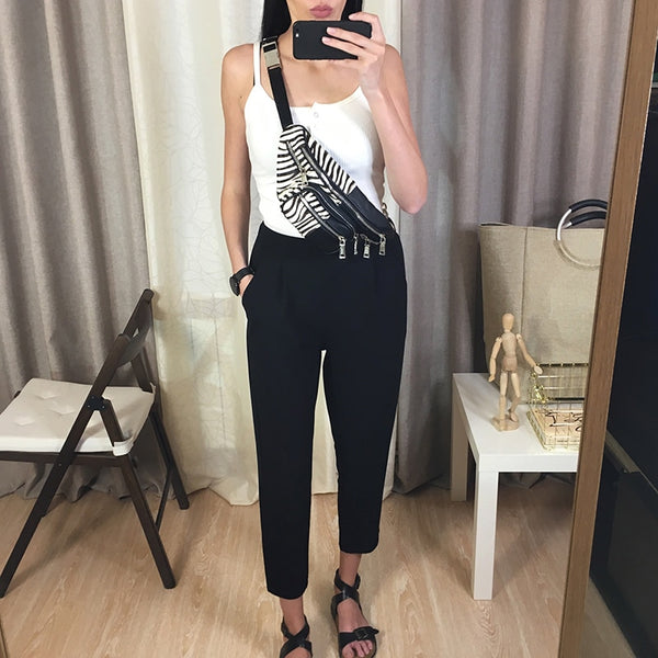 Spring Summer New Ladies Korean OL Black Harem Pants Breathable Thin Casual Pencil Pants Simple Suit Trousers For Women