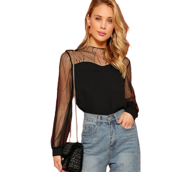 Black transparent contrast mesh round neck top women's elegant spring autumn casual plain color top and shirt
