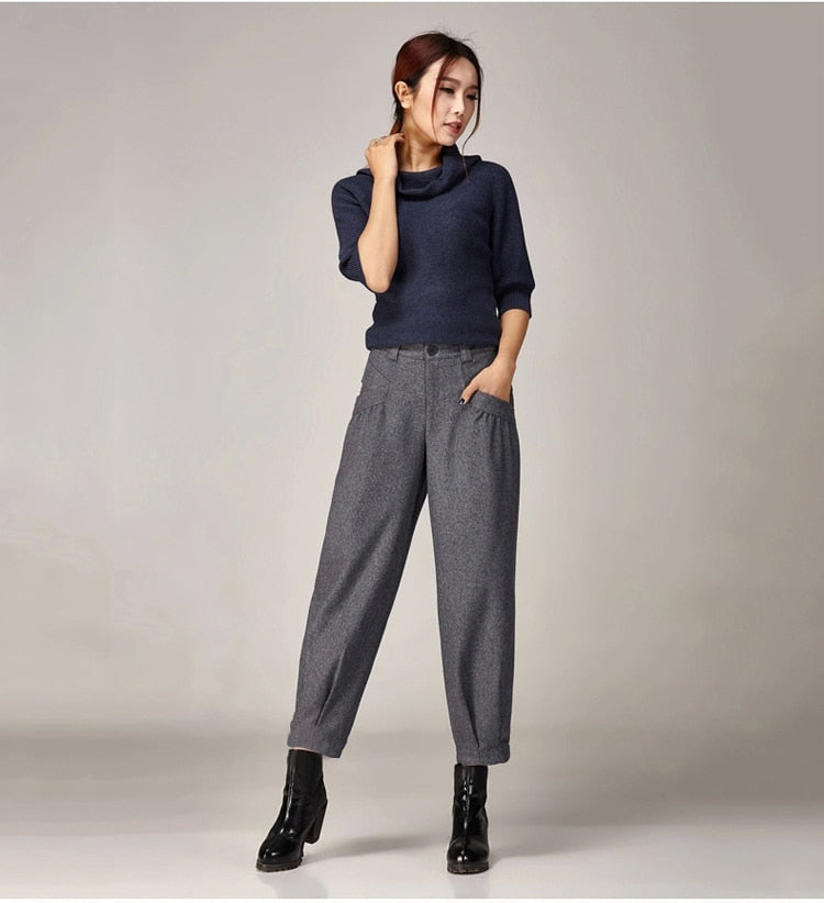 Warm Autumn/Winter Wide Leg Pants For Women Loose Harem Pants Women's Office Trousers Woman High Waist Pants Lady