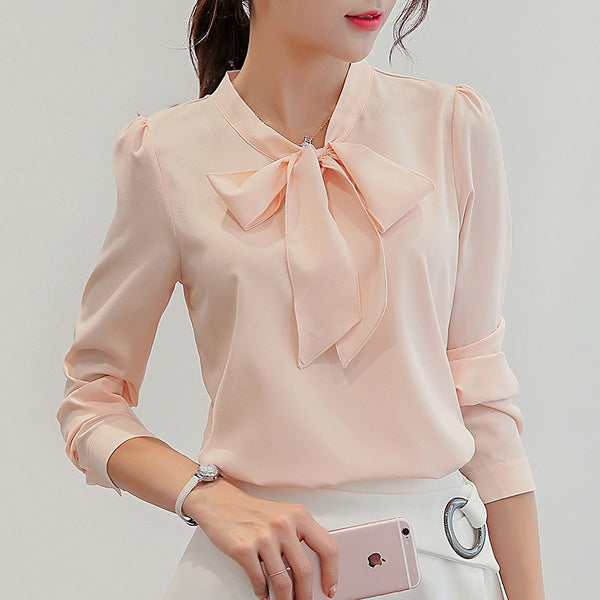 Spring and summer women's long sleeve shirt fashion casual chiffon shirt bow pink white top