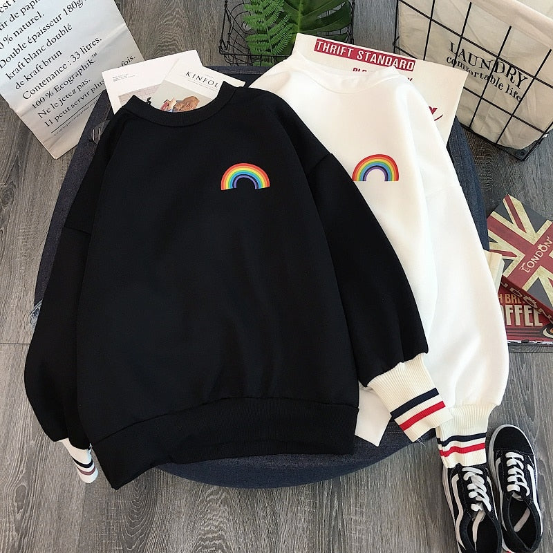 Rainbow embroidery fleece Hoodies Women korean Kawaii Sweatshirts Usagi 90s Aesthetic oversized hoodie girl Streetwear