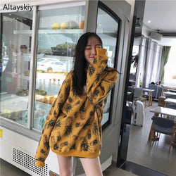 Hoodies No Hat Sweatshirts Thick Plus Oversize Printed Autumn Winter Harajuku Streetwear Korean Style Daily Sweet All-match