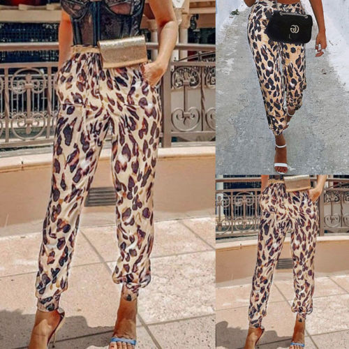 Hot Fashion Stylish Women's High Waist Autumn Casual Drawstring Elastic Long Pants Ladies Leopard Trousers Pencil Pant
