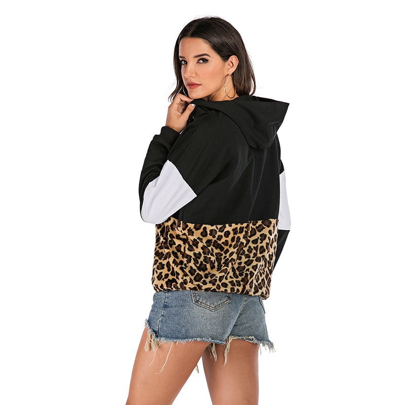 2019 leopard loose stitching fashion hooded sweater