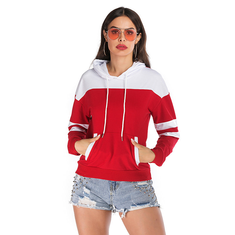 2019 fashion stitching loose hooded sweater