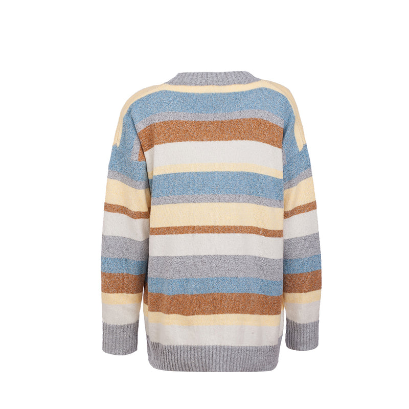 Loose Knitted Sweater with Stripe Stitching