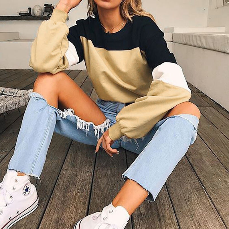 Fashion Womens Long Sleeve Splcing Color Sweatshirt Casual Cool Chic New Look Comfortable Pullover Tops Blouse