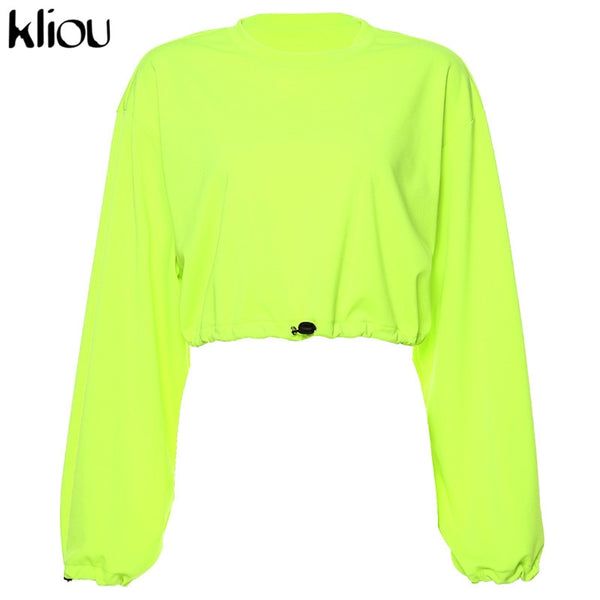 Neon green sweatshirts o-neck full sleeve crop top drawstring hoodies autumn winter new streetwear solid loose sweatshirts