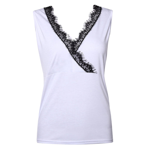 Lace Panel women's sleeveless vest V-neck slim sexy top