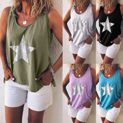 Large size Loose Vest Women Casual Round Neck Sleeveless Printed Tops Shirt female summer crop halter tank top camisetas tirant