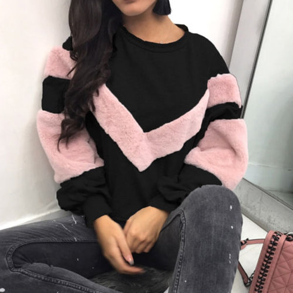 NEW Warm Women Plush Sweatshirt Stitching Long Sleeve Patchwork Pullover Tops Sweatshirt Jumper