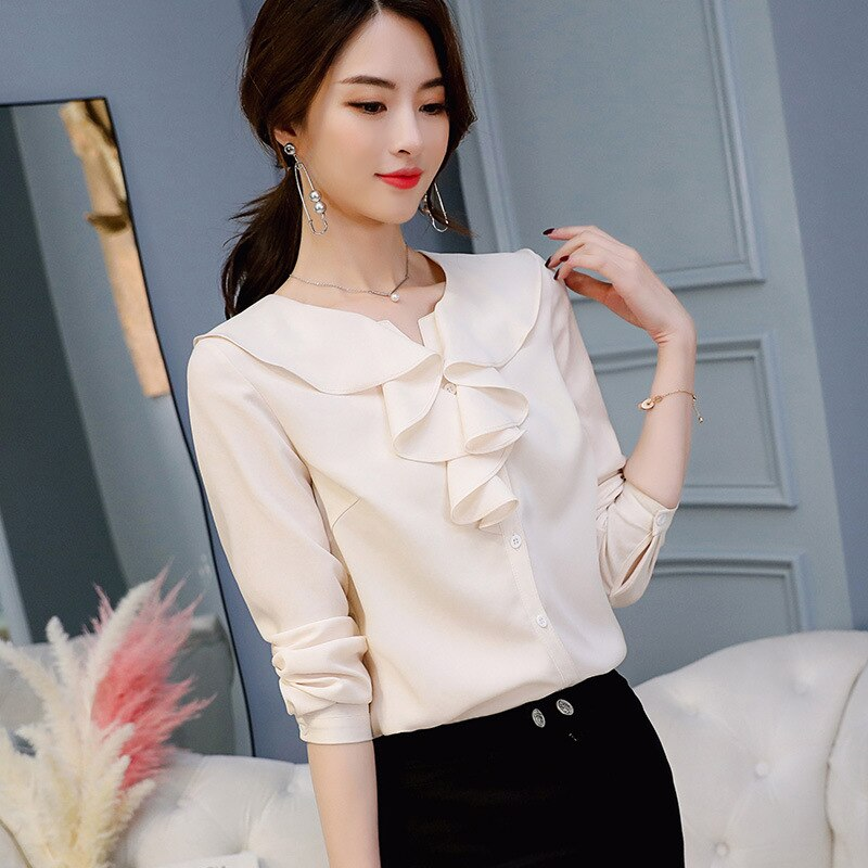 Women's spring and autumn summer fashion long sleeve shirt elegant