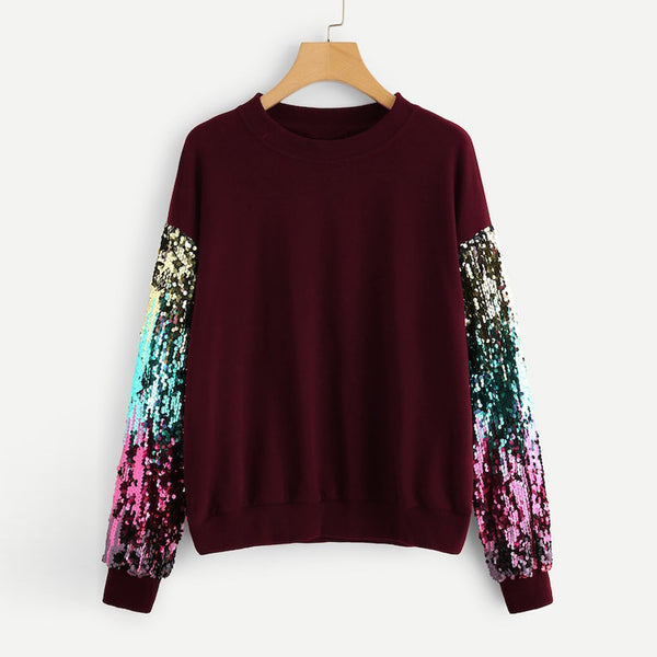 New Women Sweatshirt Female Long Sleeve Sequin O-Neck Pullover Sweatshirt Women Clothes for Winter sudaderas largas para mujer