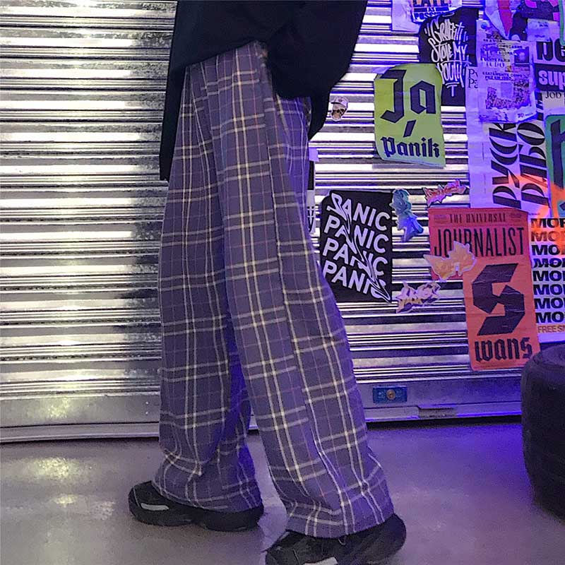 harajuku Plaid Elastic high Waist Pants 2020 autumn women Men Streetwear Hip Hop straight Trousers Casual Bottoms britis