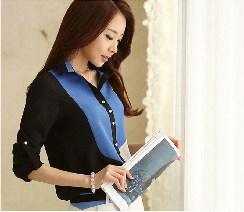 Office lady shirt elegant long sleeve shirt women work Tshirt Korean style tops tee shirt Summer clothes
