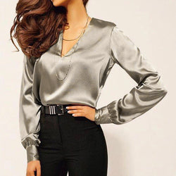 Office shirt women's silk satin shirt work clothes solid color top women
