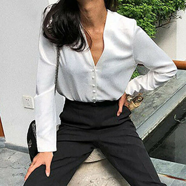 Shirt fashion women's top and shirt V-neck solid long sleeve button Retro