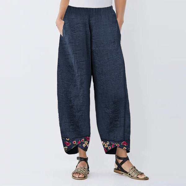 Women's Harem Pants Autumn Elastic Waist Casual Pants Vintage Floral Printed Trousers Female Loose Pantalon Palazzo