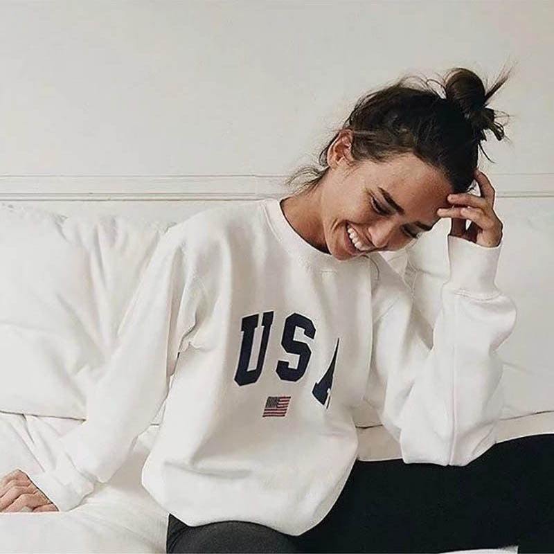 Print New Women Fashion Long Sleeve Hoodie Sweatshirt Harajuku Jumper Hooded Pullover Tops Casual Loose White Coat