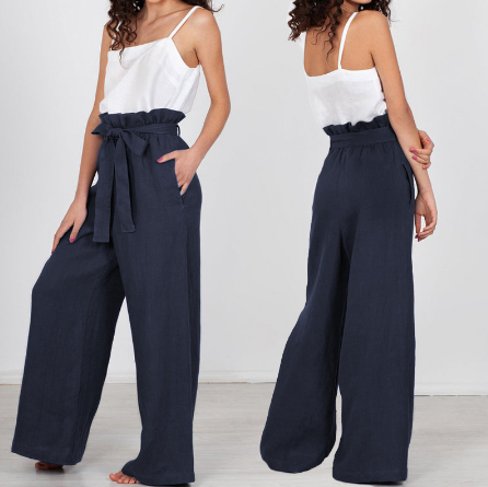 High Waist Wide Leg Pants Women Solid Vintage Linen Trousers Belt Streetwear Female Pockets Plus Size Pantalon Femme