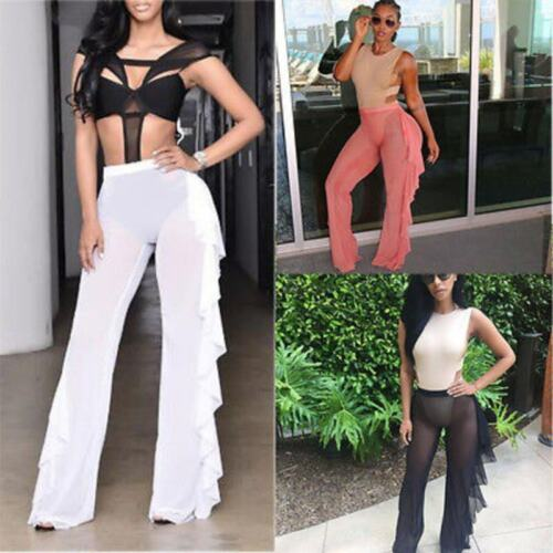 Ruffle Mesh Swimwear Beach Cover Ups Hign Waist Pure Color Beach Long Pants Women Swimwear Summer Bathing Suit Beachwear