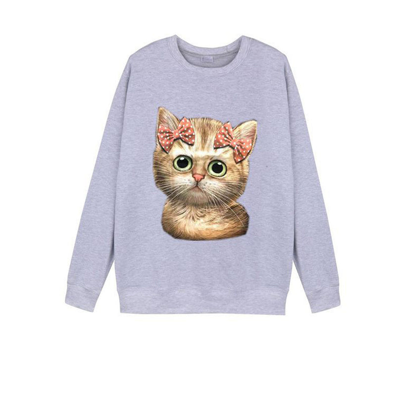 winter autumn Ladies 3D Cat Loose Large Size Cat Ears with Caps Navel Sweatshirt   Long Sleeve Women Polyester