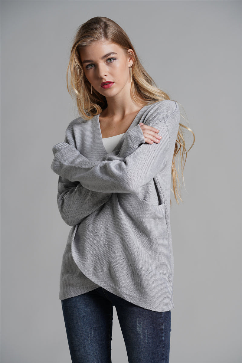 Best Selling Loose Knitted Sweaters Cross Knit Sweater Tops