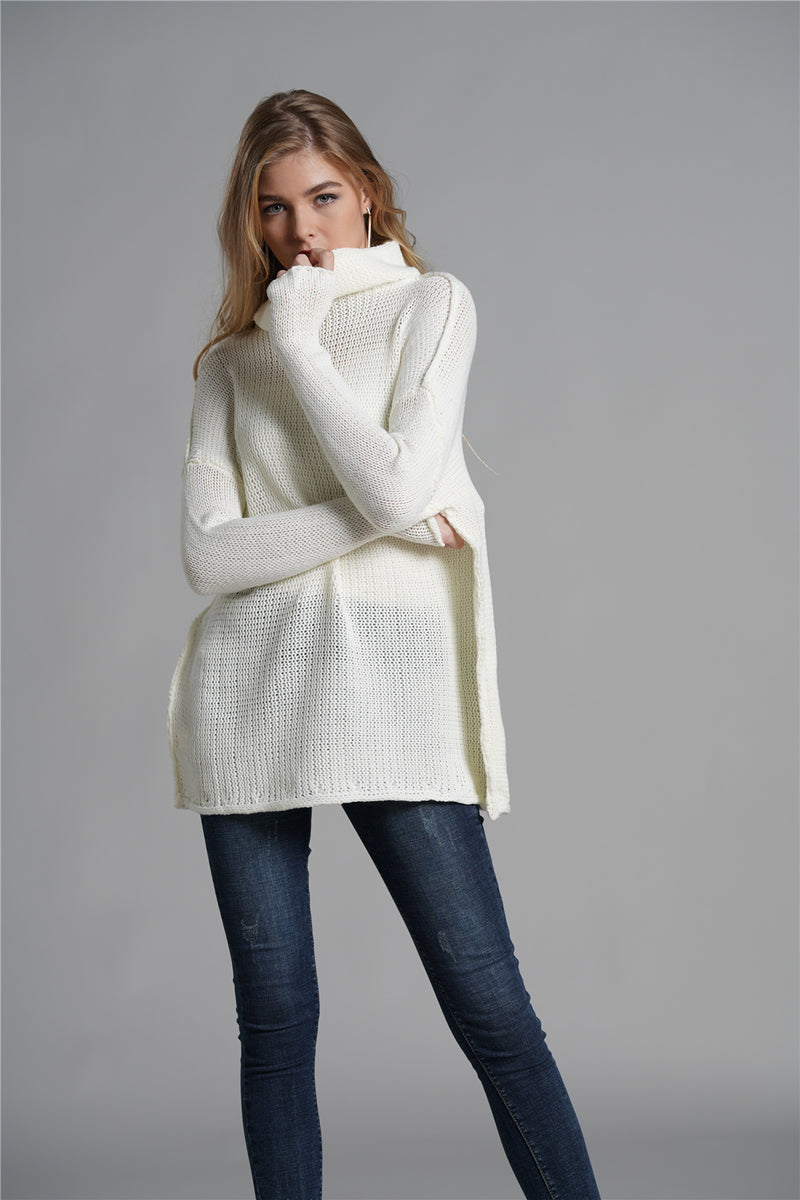 Solid Color Turtleneck Knit Pullover Sweater