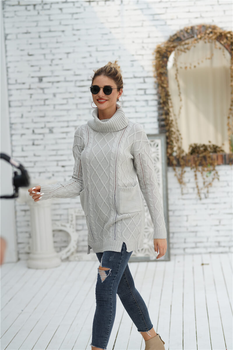 New Arrival Women Fashion Solid Color Pullover Turtleneck Sweater