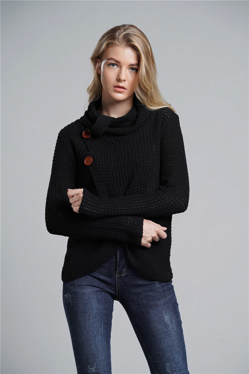 OL Commuter High Collar Long Sleeve Large Size Cardigan