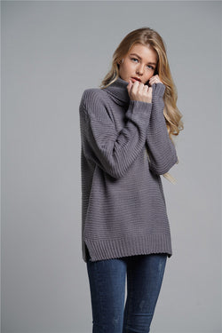 Solid Color Loose Knit Chunky Pullover Sweater Tops