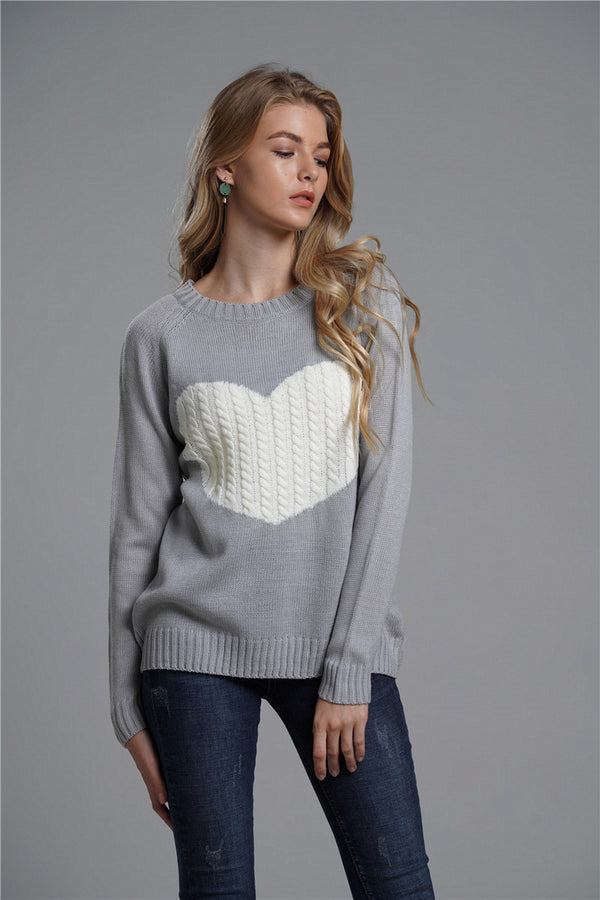 Multi Color Love Fashion Knit Pullover With Round Neck