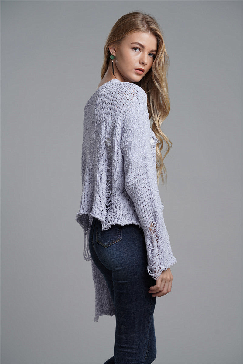 Autumn/Winter Fashion Women Medium Length Large Round Neck Sweater