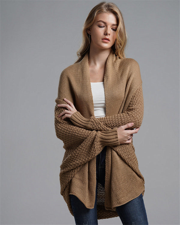 New Bat-sleeve Plus-length Cardigan Sweater For Women