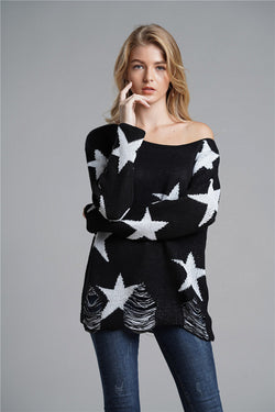 Large Star Loose Style Pullover Sweaters