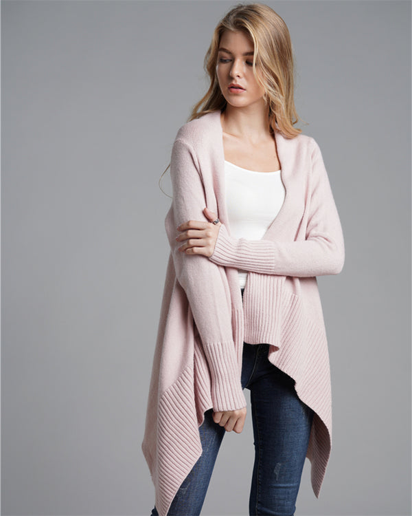 Autumn/Winter Fashion Long Sweater Woman's Coat Solid Color