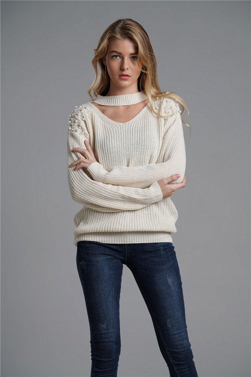 Best Selling Loose Knitted Sweaters Beige Women Fashion Knits