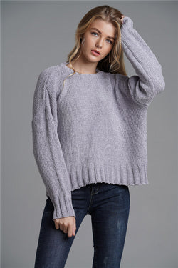 Pullover Loose Large Size Open Back Batsleeved Commuter Sweater