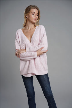 V Neck Long Batwing Sleeve Loose Chunky Knitted Sweaters