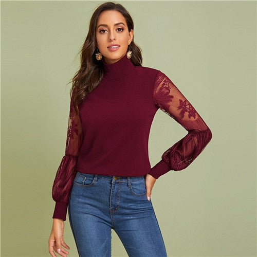 Women's High Neck Lace Lantern Sleeve Top Fashion mesh women's long sleeve printed women's top