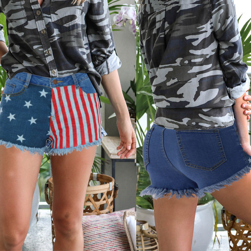 new stars and stripes US flag style women denim shorts