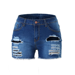High quality ladies ripped denim shorts