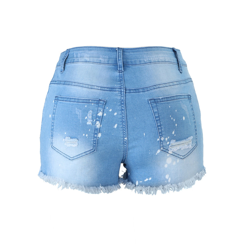 Hot sale women's frayed fringe high-quality denim shorts