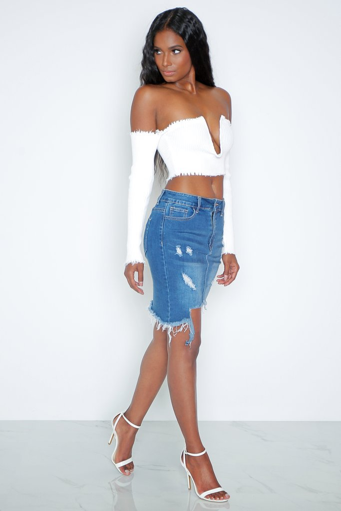 Fashion and slim  Irregular ripped skirt