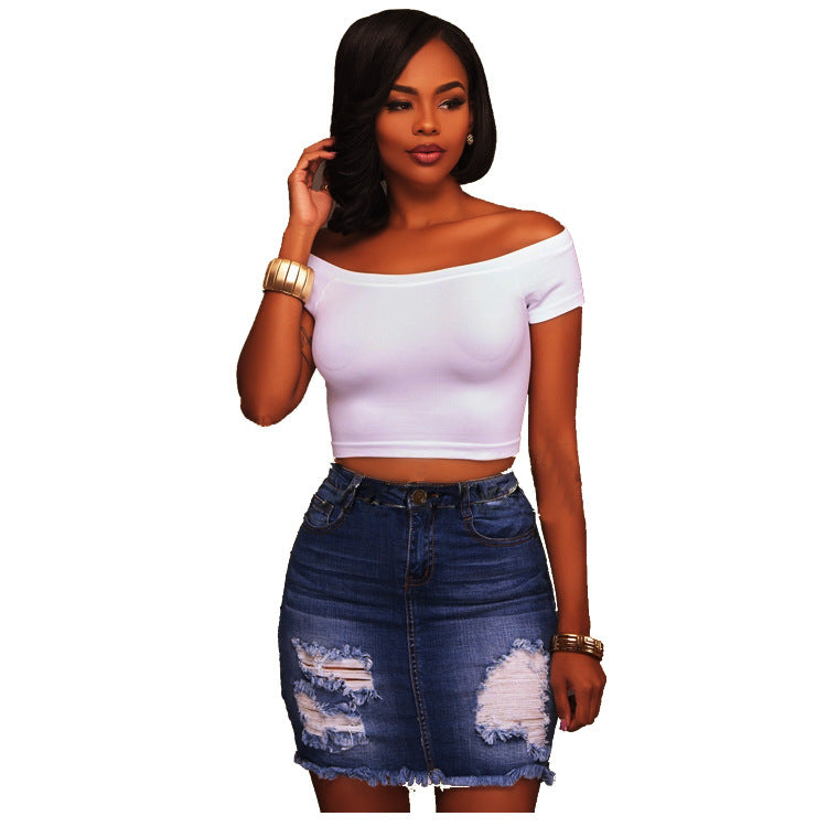 New ripped stretch denim hip wrap skirt