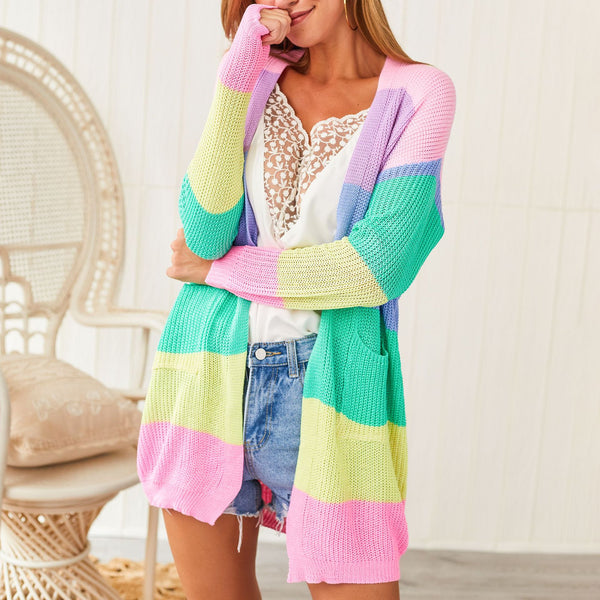New Women's Color Rainbow Panel Cardigan Sweater 2019