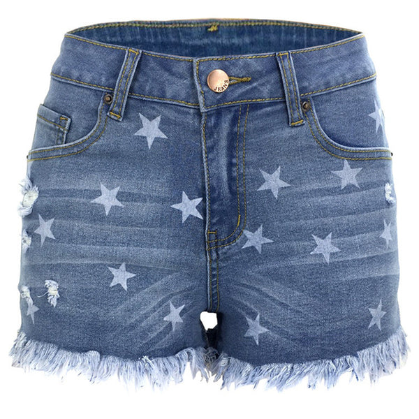 Star hole tassel denim shorts